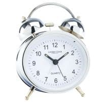 London Clock Company 32417 Oval Twin Bell Silver Alarm Clock