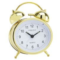 London Clock Company 32418 Oval Twin Bell Gold Alarm Clock