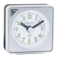 London Clock Company 32438 Silver Mini Travel Alarm Clock