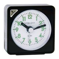 London Clock Company 32439 Black Mini Travel Alarm Clock