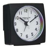 London Clock Company 34372 Radio Controlled Square Black Case Alarm Clock