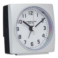 London Clock Company 34373 Radio Controlled Square Silver Case Alarm Clock