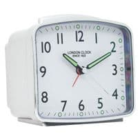London Clock Company 34375 Rectangular White Case Alarm Clock