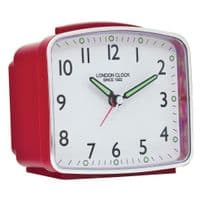 London Clock Company 34376 Rectangular Red Case Alarm Clock