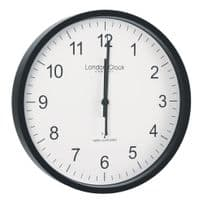 London Clock Company 36033 Radio Controlled Simple Black Wall Clock
