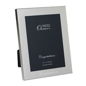 VICCI 53035 Silver-Plated 5x7 Congratulations Photoframe