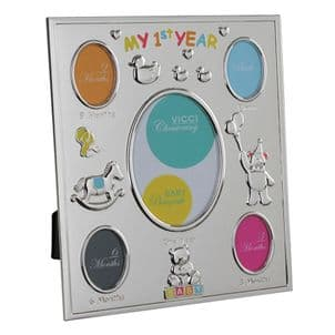 VICCI 53044 Silver-Plated Multi Photoframe My First Year Photoframe
