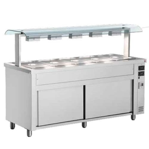 Inomak Gastronorm Bain Marie with Double Sneeze Guard MQV718