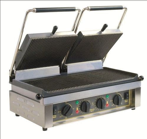 Roller Grill MAJESTIC Twin - Ribbed Top & Base Plates Contact Grills