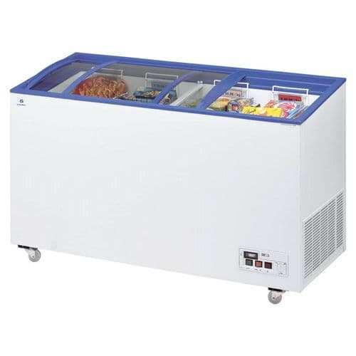 Arcaboa ACL430 Sliding Curved Glass Lid Chest Freezer