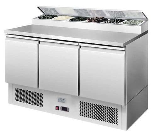 Ice-A-Cool ICE3853GR 3 Door Refrigerated Saladette Prep Counter 380 Litres