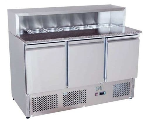 Ice-A-Cool ICE3858GR 3 Door Marble-Top Saladette Counter