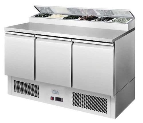Ice-A-Cool ICE3869GR 3 Door Refrigerated Saladette Prep Counter 380 Litres