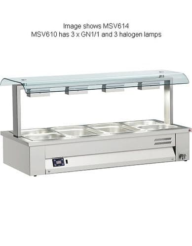 Inomak Gastronorm Bain Marie with Double Sneeze Guard - MSV610