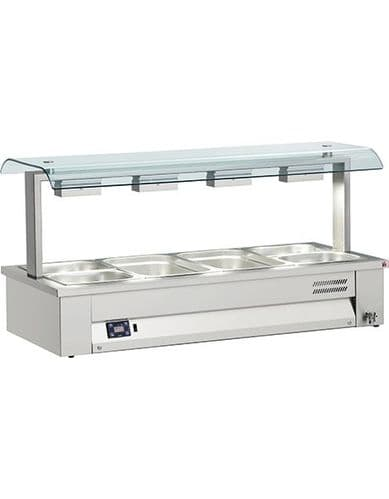 Inomak Gastronorm Bain Marie with Double Sneeze Guard - MSV614
