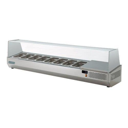 Sterling Pro SPMI-180 Glass Canopy Refrigerated Topping Well, 8 x 1/4 GN