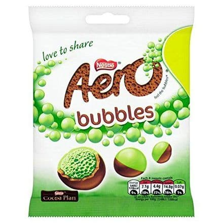 AERO Bubbles Mint Chocolate Sharing Bag 80g (12 Pack)