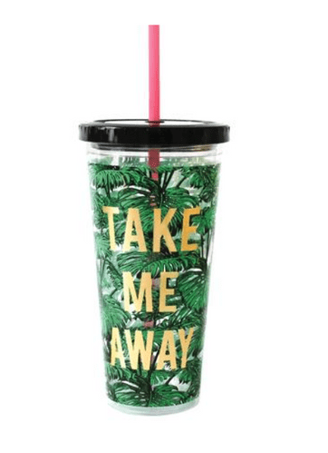 Alice Scott Take Me Away Tumbler with Peach coloured Straw