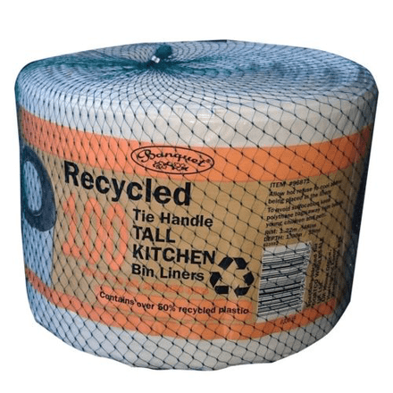 Banquet 100 Tie Handle Tall Kitchen Bin Liners Fits up to 50 Litre Bins