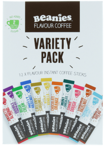 Beanies 12 x Flavour Instant Coffee Sticks Variety Pack, 2 Calories Per Cup