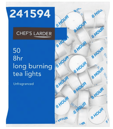 Chefs Larder 50 8hr Long Burning Tea Lights