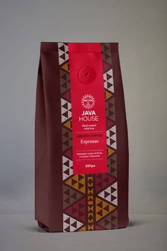 Java House Ground Coffee Espresso 227g, Indulgent Notes Rich Caramel, Chocolate