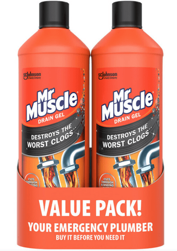 Mr Muscle Power Gel Drain Unblocker, Twin Pack, 2 x 1Litre