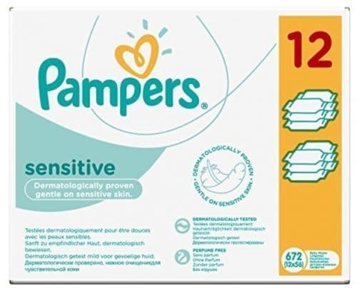 Pampers Sensitive Baby Wipes 12 x 56 Pack (672 Wipes in Total)