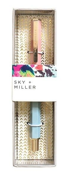 Sky + Miller Blush & Sky Blue Pen in Gold Foil Decorated Gift Box