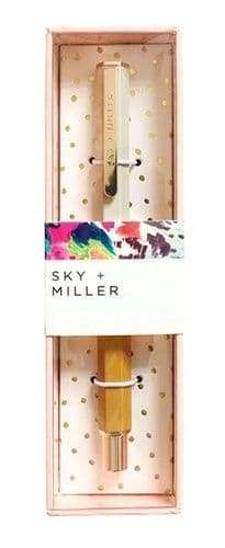 Sky + Miller Grey & Mustard Pen in Gold Foil Decorated Gift Box