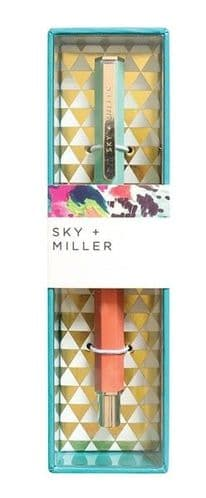 Sky + Miller Mint & Coral Pen in Gold Foil Decorated Gift Box