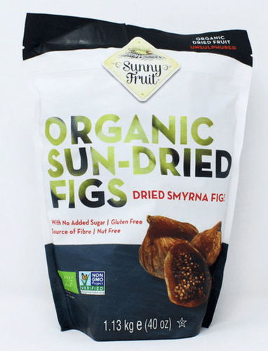 Sunny Fruit Organic Sun Dried Smyrna Figs Natural Juicy Gluten Free Pack 1.13kg