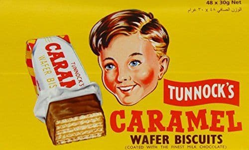 Tunnock Milk Chocolate Coated Caramel Wafer Biscuits 30 g (Pack of 48)