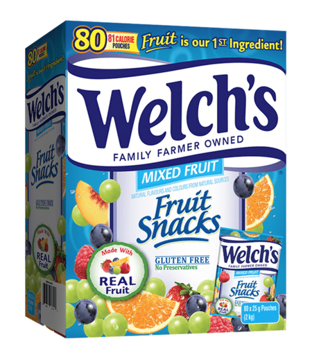 Welch's Fruit Snacks, Mixed Fruit, Fat Free Snacks, (80 x 25g pouches per box)