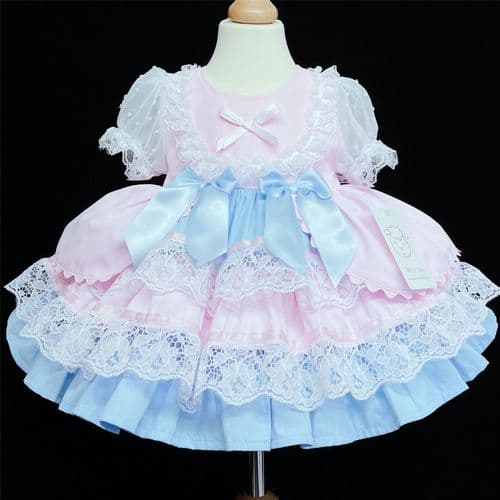 *Baby Girl Pink with Blue Puff Ball Lacey Dress Many Layers Satin Bows 2159 PB