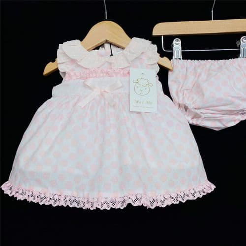 * Baby Girl Spanish Pink Bow Dress with Pants Set