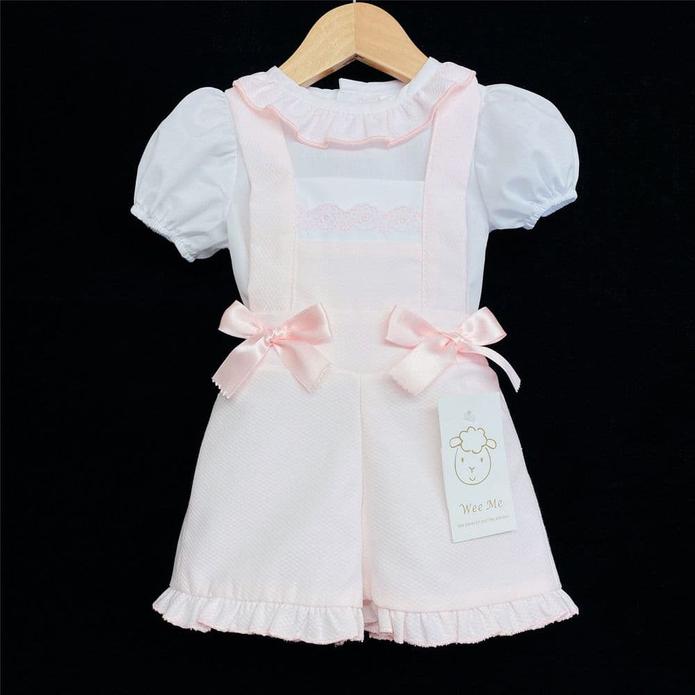* Baby Girl Spanish Pink Waffle Dungaree Suit Frilly Collar Shirt MYD105 Pink