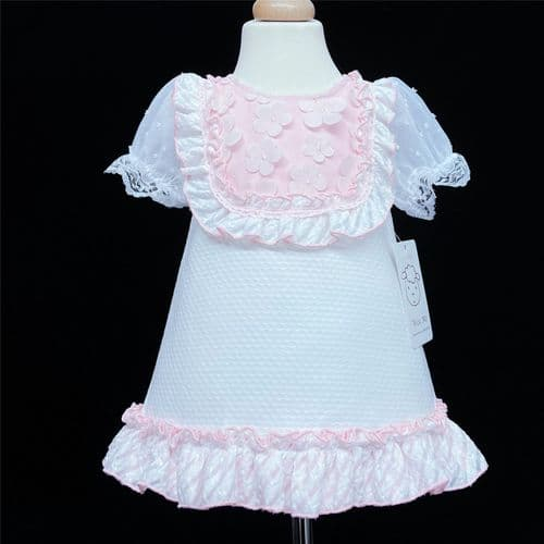 *Baby Girl White Waffle A Line Dress Pink Frilly Details 2160 Pink
