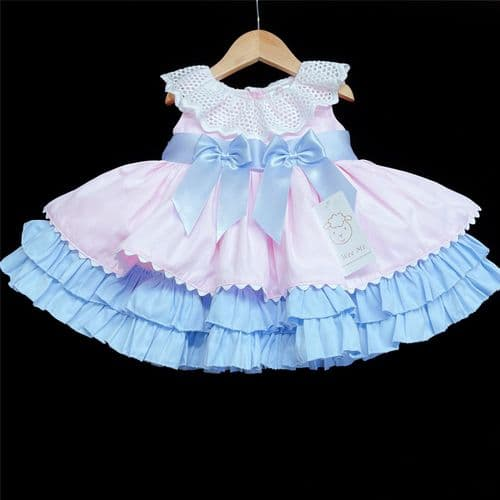 *New Arrival Beautiful Baby Girl Pink with Blue Puff Ball Summer Dress 2156 Pink