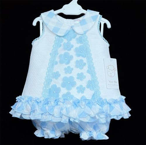 *New Arrival Gorgeous Baby Girl White Waffle A Line Dress Blue Flower Details 2155 Blue