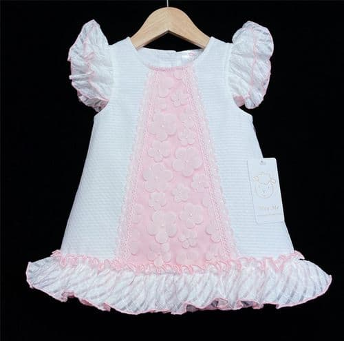 *New Arrival Gorgeous Baby Girl White Waffle A Line Dress Pink Flower Details 2153