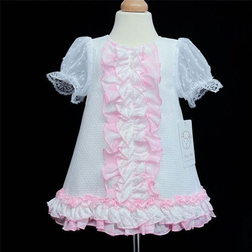 *New Arrival Gorgeous Baby Girl White Waffle A Line Dress Pink Frilly Details 2154 Pink