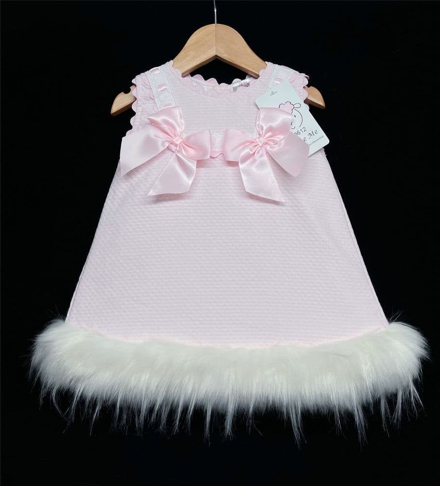 *SALE Gorgeous Baby Girl Pink Waffle Dress with Faux Fur Bottom