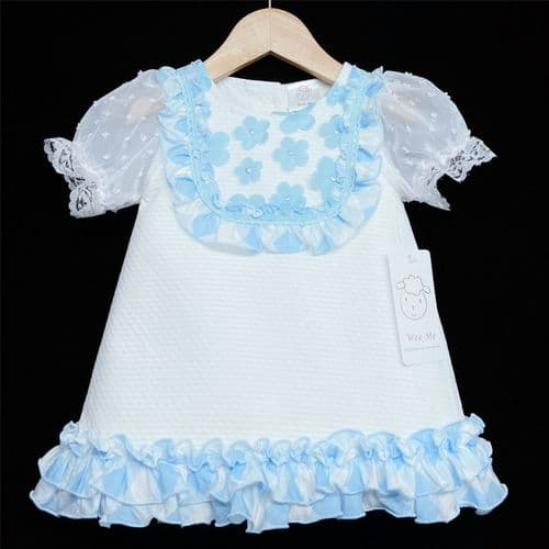 *SS21 Baby Girl White Waffle A Line Dress Blue Floral Details 2147