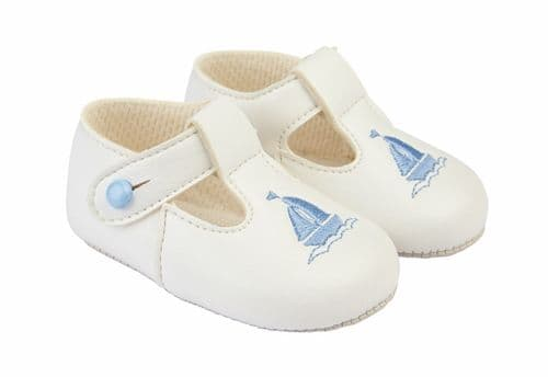 "Baby Boys Embroidered Sail Boat Patent Pram Shoes ""B119 White"""