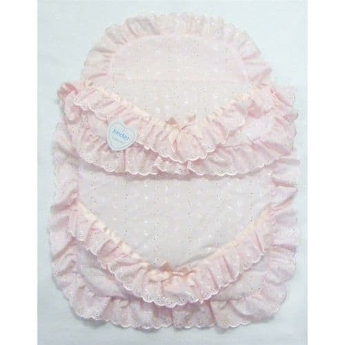 Baby Broderie Anglaise Quilt Pram Set with Lace Pram Pillow Case