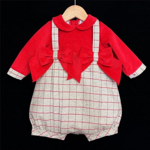 """Baby Girl Red Grey Checked Bodysuit with Bow Tartan """"MYD108"""""""