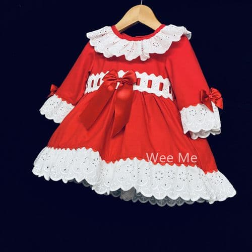 """Baby Girl Red Long Sleeve Puff Ball Dress Front Bow """"1920"""""""