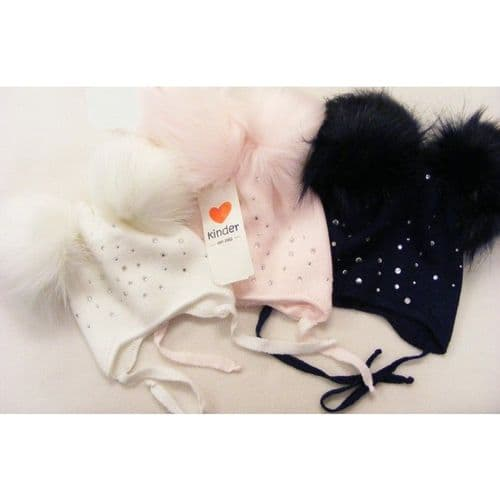 Baby Girl Tie on Double Thickness Hat Double Fur Pom Diamante