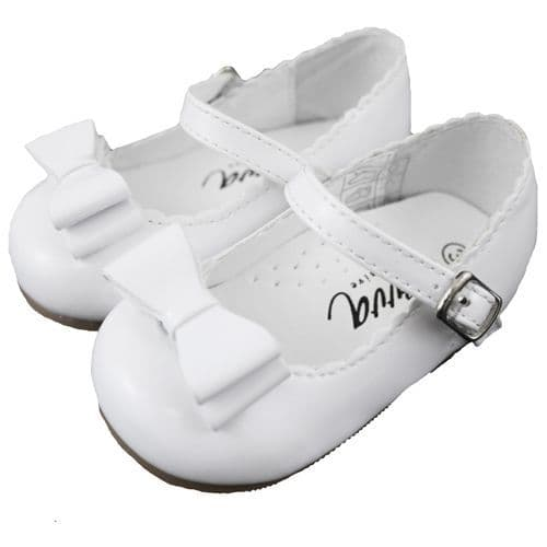 "Baby Girls Patent Bow Shoes ""Elena White"""